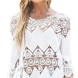 Crochet and Cotton Dress or Coverup.
